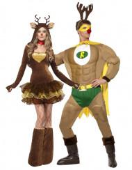Disfarce casal de renas cómicos