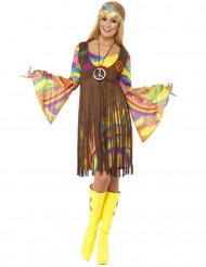 Disfarce hippie flores anos 70 mulher