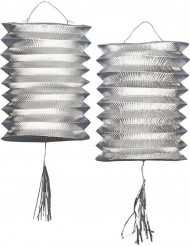 2 Lanternas metálicas prateadas