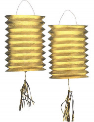 2 Lanternas metálicas douradas