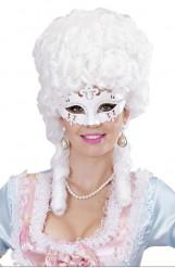 Máscara veneziano strass branco adulto