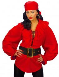 Camisa vermelha pirata mulher