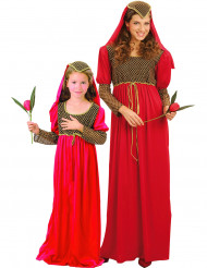 Disfarce de casal medieval Julieta mãe e filha
