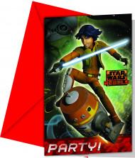 6 Convites Star Wars Rebels™ com envelopes