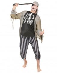Disfarce de pirata zombie homem