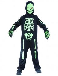Disfarce de esqueleto verde criança