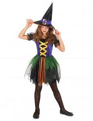 Fato de bruxa colorida menina