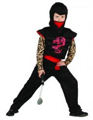Disfarce ninja vermelho e preto criança