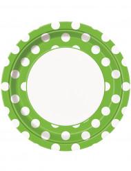8 Pratos verdes às bolinhas brancas de cartão 23 cm