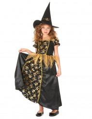 Disfarce de bruxa preta e dourada menina