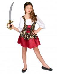 Disfarce de pirata motivos dourados menina