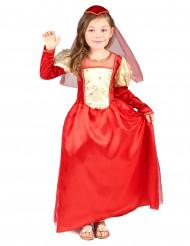 Disfarce medieval vermelho menina
