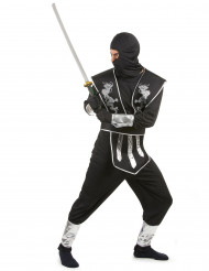 Disfarce ninja homem preto e prateado