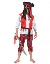 Disfarce de pirata vermelho e branco homem