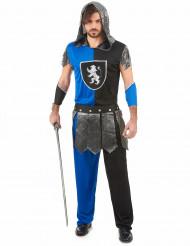 Disfarce cavaleiro azul medieval homem