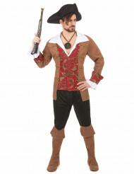 Disfarce pirata homem castanho e preto