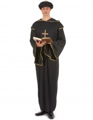 Disfarce de monge homem preto e dourado