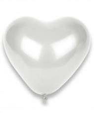100 balões coração brancos 32cm