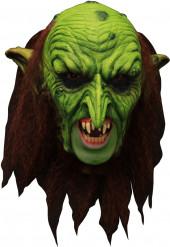 Máscara 3/4 velho duende verde assustador com dentadura