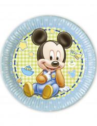 8 Pratos cartão Bébé Mickey™ 23 cm