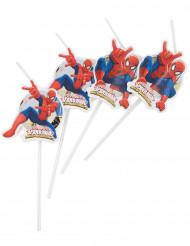 6 Palhinhas com imagem Spiderman™ Homem-aranha