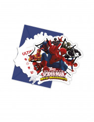 6 Convites com envelopes Spiderman Web-Warriors™