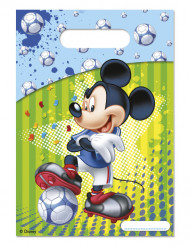 6 sacos de festa Mickey™ futebol 16,5 x 23 cm
