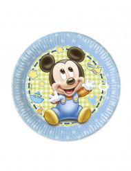 8 Pratos bébé Mickey™ 20 cm