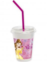 12 copos com tampa e palhinha Princesas Disney™