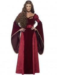Disfarce rainha medieval bordeaux mulher