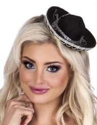 Mini sombrero preto mulher