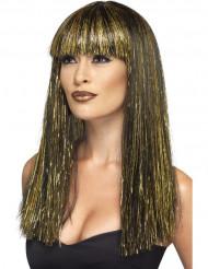 Peruca comprida egípcia preta e dourada mulher