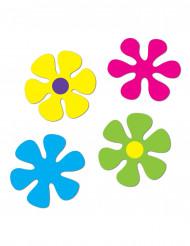4 Decorações de cartão Flores retro 30 e 34 cm