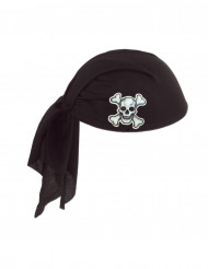 Chapéu bandana preto poliéster pirata adulto