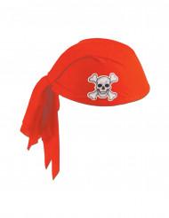 Chapéu bandana vermelho poliéster pirata adulto