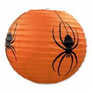 3 Lanternas de papel cor de laranja Aranhas Halloween