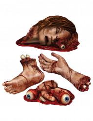 4 Decorações partes do corpo sangrentas Halloween