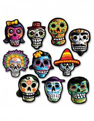 10 Mini decorações de cartão Dia de los muertos