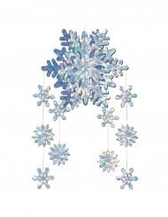 Decoração a suspender flocos de neve prismáticos 3D