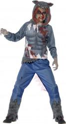 Disfarce homem-lobo sangrento menino Halloween