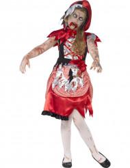 Disfarce capuchinho vermelho zumbi menina Halloween