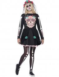 Disfarce esqueleto colorido adolescente Halloween