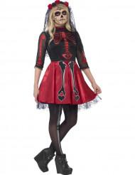 Disfarce esqueleto vermelho com lantejoulas adolescente Halloween