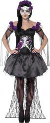 Disfarce esqueleto roxo mexicano mulher halloween