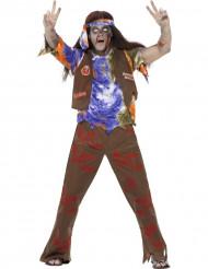 Disfarce zombie hippie homem Halloween
