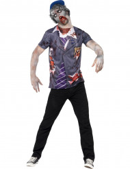 T-shirt zumbi estudante homem Halloween