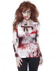 T-shirt zumbi sexy mulher Halloween