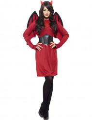 Disfarce diabo vermelho e preto mulher Halloween