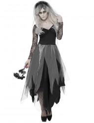 Disfarce noiva preta fantasma mulher Halloween
