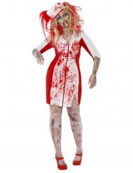 Disfarce enfermeira zumbi mulher Halloween